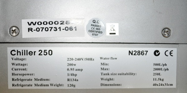 Aquarium Chiller Label